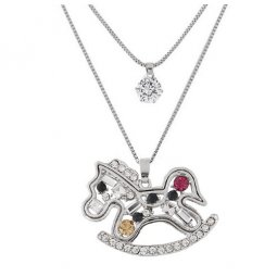 C09091258 Silver 2 Layers Rocking Horse Charm Long Necklace