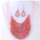 C0150732130 Pink bohemian beads layer necklace & earrings set