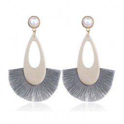 A-FX-E6687grey Grey Tassel Wooden Oval White Pearl Earrings
