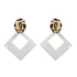 A-FX-E6656- Whiite Square Gold Circle Korean Earstuds