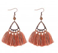 A-DW-HQE934orange Wooden Beads Orange Tassel Hook Earrings