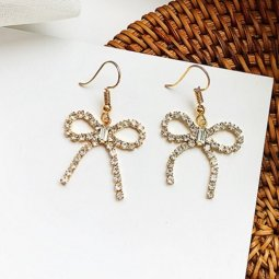 A-LG-ER0560ribbon Ribbon Diamond Bling Gold Korean Hook Earrings
