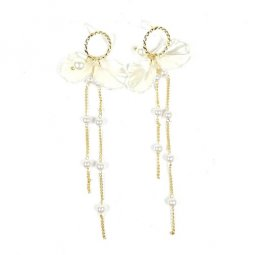 A-TT-509 Gold White Pearls Glitter White Shell Long Ring Earring
