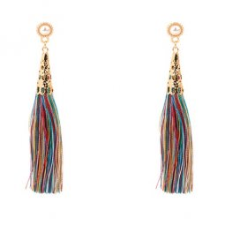 P128603 Colourful White Bead Gold Inspired Tassel Earstuds