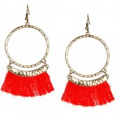 A-KJ-E020336red Red Round Circle Elegant Dinner Tassel Earrings