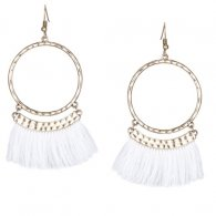 A-KJ-E020350 White Round Elegant Tassel Hook Earrings Wholesale