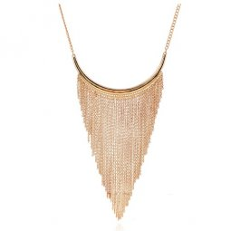 A-H2-100X685 Dangling chain elegant moon statement necklace