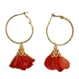 A-KJ-E020670RED Red Flower Cute Hoop Round Ring Earstud Shop