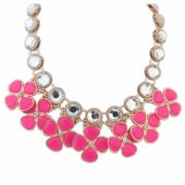 P122488 Pink clover flower crystals choker necklace malaysia