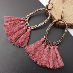A-SD-XL0205dustypink Pink Tassel Oval Vintage Huggy Earrings