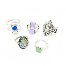 A-H2-107J008 Midi Silver Throne Resin Beads Rings Set 5 Pcs