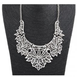 A-CJ-CZ9190 Antique silver flowery elegant choker necklace malay