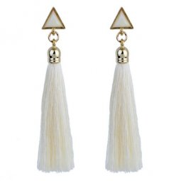 A-GL-1073 Geometry Triangle White Tassel Korean Tassel Earstuds