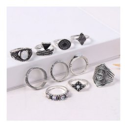 P132714 Boho Native Sparkly Silver Theme Rings Set Fashion