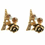 C10070691 Gold eiffel tower rose korean shiny earstuds shop