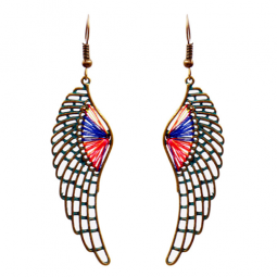 A-HH-HQEF-105(wing) Colourful Thread Vintage Wings Hook Earrings