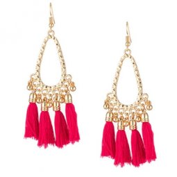 A-KJ-E020395 Rose Pink Oval Dangling Wholesale Tassel Earrings