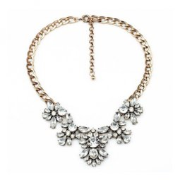 A-MD-N1112 White Crystal Beads Elegant Golden Chain Necklace