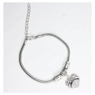 A-BK-006 Amare Hope Engraved White Crystal Heart Shaped Bracelet