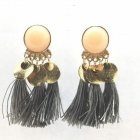 A-SD-EH0289GRE Grey Round Bead Dangling Tassel Earstuds