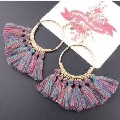 A-SD-SL218c Colourful Tassels Round Bohemian Hook Earrings