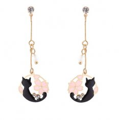 B-ASE-872- Black Cat Diamond Shakura Earstuds Earrings