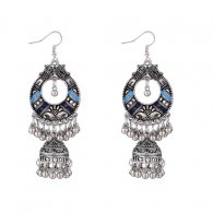P134394 Blue Artsy Carved Silver Dome & Beads Hook Earrings