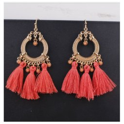 A-SD-XL0245orange Orange Tassel Gold Circle Bead Hook Earrings