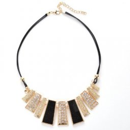 A-CJ-CZ9038 Black geometry shiny crystals statement necklace mal
