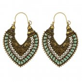 A-YG-SKU5886mintg Mint Green Beads Vintage Leaf Shape Earrings