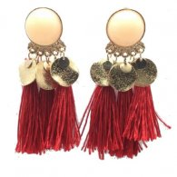A-SD-EH-289RED Red Round Bead Wholesale Tassel Earstuds