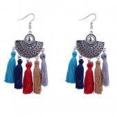 P127531 Colourful Moon Spring Tassel Earrings Malaysia Shop