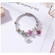 A-MS-K4302 Purple Galaxy Moon Star Elegant Charm Bracelet