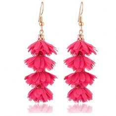 A-Kj-Pink2 Pink Flora Korean Inspired Tassel Hook Earrings