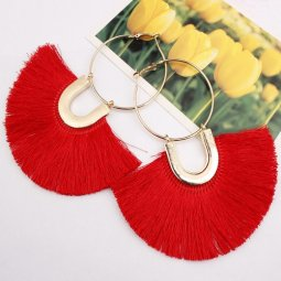A-SD-XL109633red Red Huge Tassels Vogue Gold Hoops Earrings