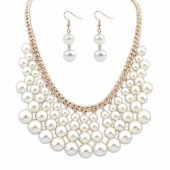 P105973 White pearl choker necklace & matching earrings set