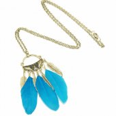 P121371 Skyblue leave charms bohemian feather long necklace
