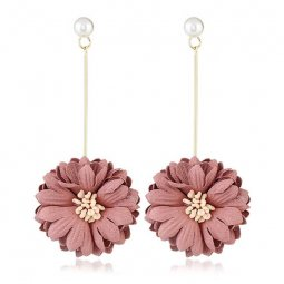 A-MY-0302 Dusty Pink Summer Korean Flower Gold Holder Earrings