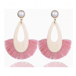 A-FX-E6687pink Pink Tassel Wooden Oval White Pearl Earrings