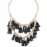 P118802 Black dangling 2 layers tatement necklace malaysia shop