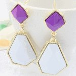 P93158 Light gold purple white dangling korea earstuds wholesale