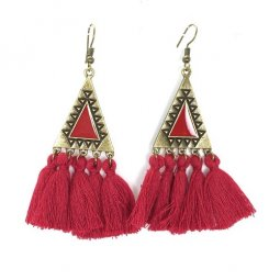 A-KJ-E020325MAR Maroon Tassels Triangle Vintage Hook Earrings