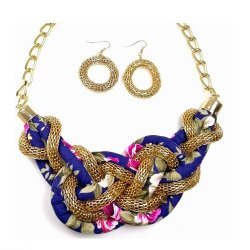 B-MLSF-135- Gold Classic Flower Rope Statement Necklace
