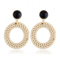 A-MY-1401 Faux Rattan Circle Native Traditional Style Earrings