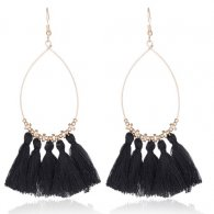 A-CD-ER-196 Oval Gold Elegant Bead Black Tassel Hook Earrings
