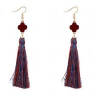 P127550 Colourful Clover Flower Tassel Earrings Accessories Shop