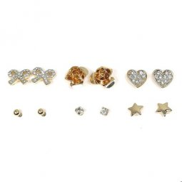 B-MLSF-A530 - Gold Ribbon Rose Love Star Diamond Earstuds