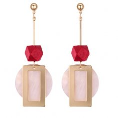 P131320 Red Wooden Bead Shell Gold Korean Style Earstuds