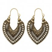 A-YG-SKU5886WHIT White Beads Vintage Leaf Shape Hook Earrings