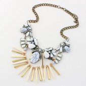 P125413 White beads bohemian crystals statement necklace